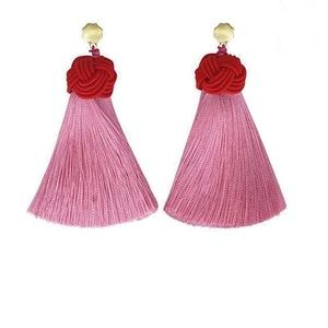 Pink & red topknot Hart tassel earrings
